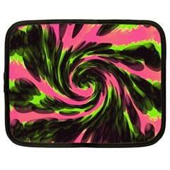 Swirl Black Pink Green Netbook Case (large)