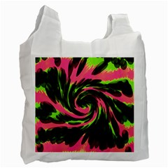 Swirl Black Pink Green Recycle Bag (two Side)