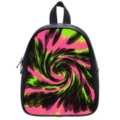 Swirl Black Pink Green School Bag (small) by BrightVibesDesign