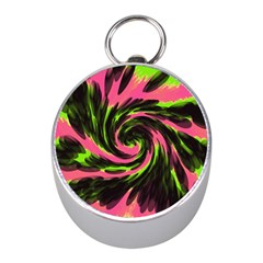 Swirl Black Pink Green Mini Silver Compasses