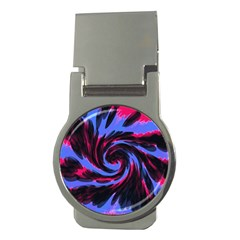 Swirl Black Blue Pink Money Clips (round)  by BrightVibesDesign