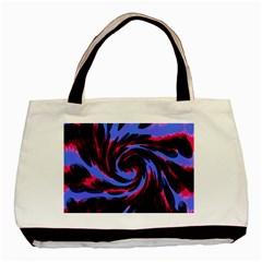 Swirl Black Blue Pink Basic Tote Bag