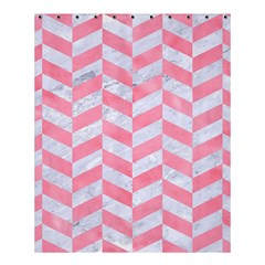 Chevron1 White Marble & Pink Watercolor Shower Curtain 60  X 72  (medium)  by trendistuff