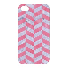 Chevron1 White Marble & Pink Watercolor Apple Iphone 4/4s Hardshell Case