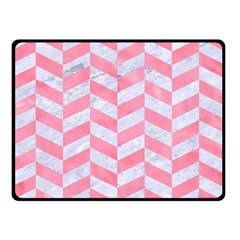 Chevron1 White Marble & Pink Watercolor Double Sided Fleece Blanket (small)
