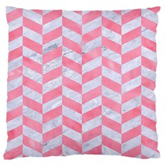 Chevron1 White Marble & Pink Watercolor Large Flano Cushion Case (two Sides)