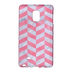 Chevron1 White Marble & Pink Watercolor Galaxy Note Edge