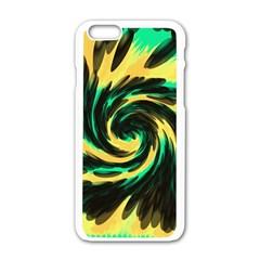Swirl Black Yellow Green Apple Iphone 6/6s White Enamel Case by BrightVibesDesign