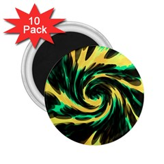 Swirl Black Yellow Green 2 25  Magnets (10 Pack)  by BrightVibesDesign