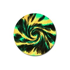 Swirl Black Yellow Green Magnet 3  (round) by BrightVibesDesign