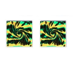 Swirl Black Yellow Green Cufflinks (square)