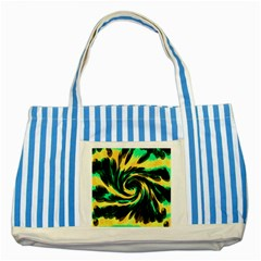 Swirl Black Yellow Green Striped Blue Tote Bag