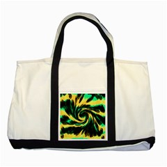 Swirl Black Yellow Green Two Tone Tote Bag by BrightVibesDesign