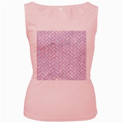 Brick2 White Marble & Pink Watercolor (r) Women s Pink Tank Top