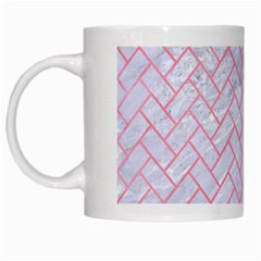 Brick2 White Marble & Pink Watercolor (r) White Mugs by trendistuff
