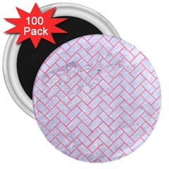 Brick2 White Marble & Pink Watercolor (r) 3  Magnets (100 Pack)