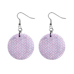 Brick2 White Marble & Pink Watercolor (r) Mini Button Earrings