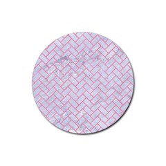 Brick2 White Marble & Pink Watercolor (r) Rubber Coaster (round)