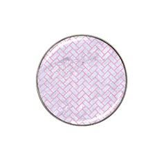 Brick2 White Marble & Pink Watercolor (r) Hat Clip Ball Marker