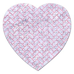 Brick2 White Marble & Pink Watercolor (r) Jigsaw Puzzle (heart)