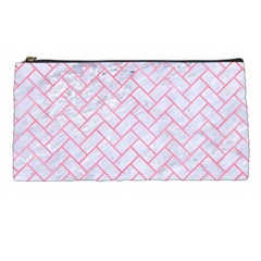 Brick2 White Marble & Pink Watercolor (r) Pencil Cases by trendistuff