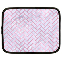 Brick2 White Marble & Pink Watercolor (r) Netbook Case (xxl)  by trendistuff