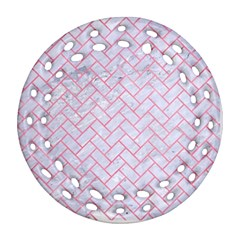 Brick2 White Marble & Pink Watercolor (r) Round Filigree Ornament (two Sides)