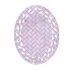 Brick2 White Marble & Pink Watercolor (r) Oval Filigree Ornament (two Sides)