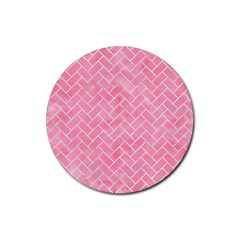 Brick2 White Marble & Pink Watercolor Rubber Round Coaster (4 Pack)