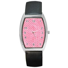 Brick2 White Marble & Pink Watercolor Barrel Style Metal Watch