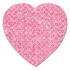 Brick2 White Marble & Pink Watercolor Jigsaw Puzzle (heart)