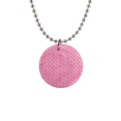 Brick2 White Marble & Pink Watercolor Button Necklaces