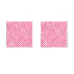 Brick2 White Marble & Pink Watercolor Cufflinks (square)