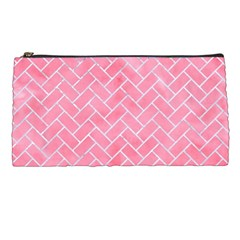 Brick2 White Marble & Pink Watercolor Pencil Cases by trendistuff