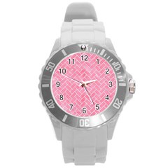 Brick2 White Marble & Pink Watercolor Round Plastic Sport Watch (l)