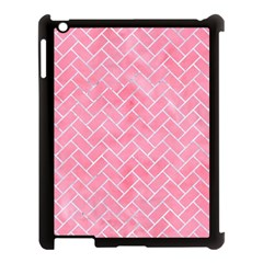 Brick2 White Marble & Pink Watercolor Apple Ipad 3/4 Case (black)