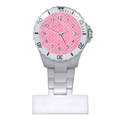 Brick2 White Marble & Pink Watercolor Plastic Nurses Watch