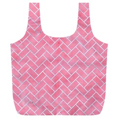 Brick2 White Marble & Pink Watercolor Full Print Recycle Bags (l)