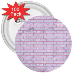 Brick1 White Marble & Pink Watercolor (r) 3  Buttons (100 Pack)