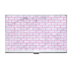 Brick1 White Marble & Pink Watercolor (r) Business Card Holders