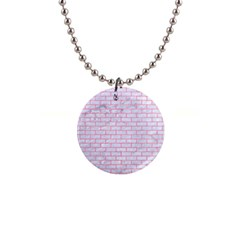 Brick1 White Marble & Pink Watercolor (r) Button Necklaces