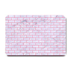 Brick1 White Marble & Pink Watercolor (r) Small Doormat