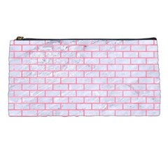 Brick1 White Marble & Pink Watercolor (r) Pencil Cases by trendistuff