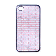 Brick1 White Marble & Pink Watercolor (r) Apple Iphone 4 Case (black)