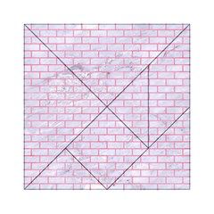 Brick1 White Marble & Pink Watercolor (r) Acrylic Tangram Puzzle (6  X 6 )