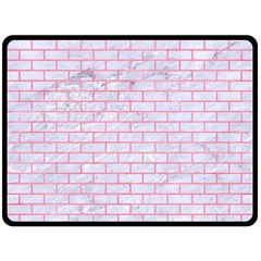 Brick1 White Marble & Pink Watercolor (r) Double Sided Fleece Blanket (large)