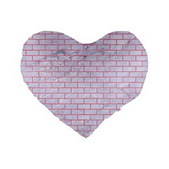 Brick1 White Marble & Pink Watercolor (r) Standard 16  Premium Flano Heart Shape Cushions