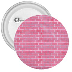 Brick1 White Marble & Pink Watercolor 3  Buttons