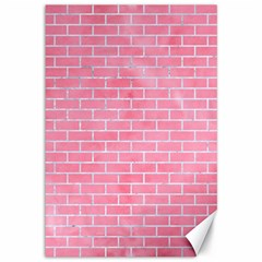 Brick1 White Marble & Pink Watercolor Canvas 12  X 18
