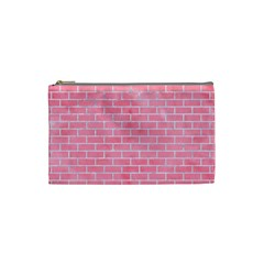 Brick1 White Marble & Pink Watercolor Cosmetic Bag (small)